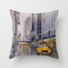 Hey Taxi - New York City Midtown Rain  Watercolors Throw Pillow