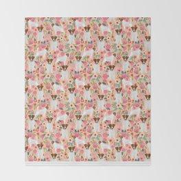 Jack Russell Terrier florals cute pastel flowers gardener with dog pet lover dog art pet portraits  Throw Blanket