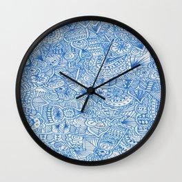 blue zentangle Wall Clock