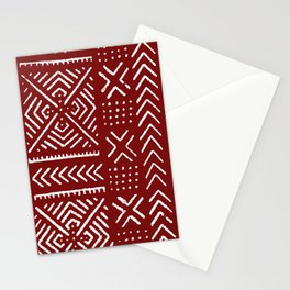 Line Mud Cloth // Maroon Stationery Cards