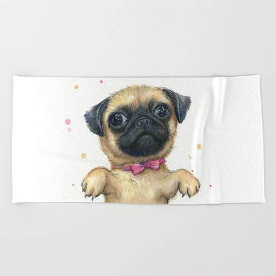 Cute Pug Puppy Dog Watercolor Painting Beach Towel