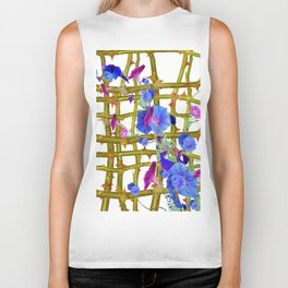 BLUE MORNING GLORIES THORN LATTICE DESIGN Biker Tank