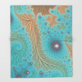 Aquae - Fractal Art Throw Blanket