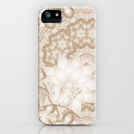 Butterfly on mandala in iced coffee tones iPhone Case