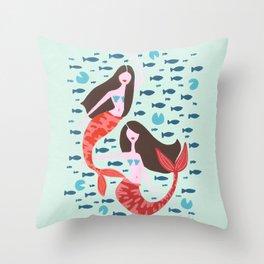 Koi Mermaids on Mint Throw Pillow