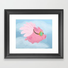 Flying Pink Pig Framed Art Print