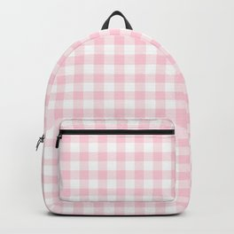 Light Soft Pastel Pink Cowgirl Buffalo Check Plaid Backpack