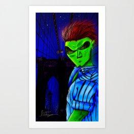 "ALIEN ""ERIKO"" AT BROOKLYN BRIDGE Art Print"