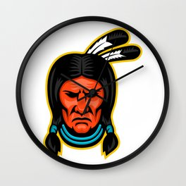 Sioux Chief Sports Mascot Wall Clock