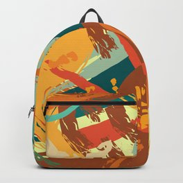 Vivid Strokes in Orange and Teal Backpack