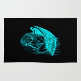 A sleeping Angel in black and green design Rug