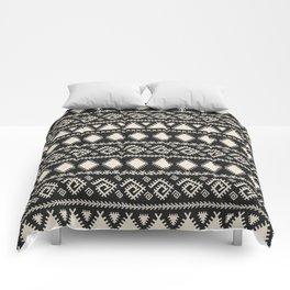 Vintage white black geometrical aztec tribal Comforters