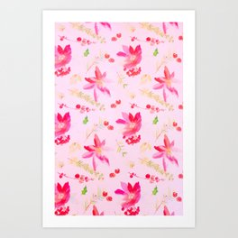Bright Pink Watercolor Flowers Art Print