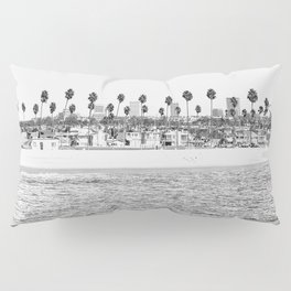 Vintage Newport Beach Print {4 of 4} | Photography Ocean Palm Trees B&W Tropical Summer Sky Pillow Sham