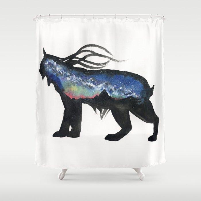 Aurora Milky Way Lynx. Shower Curtain