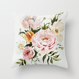 Loose Peonies & Poppies Floral Bouquet Throw Pillow