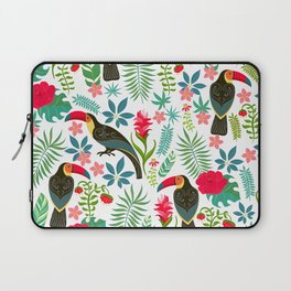 Decorative pattern with toucans, tropical flowers and leaves Laptop Sleeve