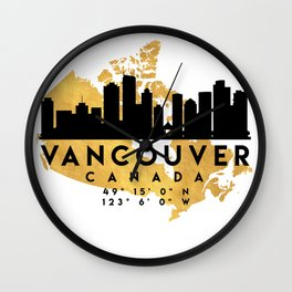 VANCOUVER CANADA SILHOUETTE SKYLINE MAP ART Wall Clock