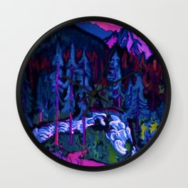 By the River Below the Mountains landscape painting by Ernst Ludwig Kirchner Wall Clock