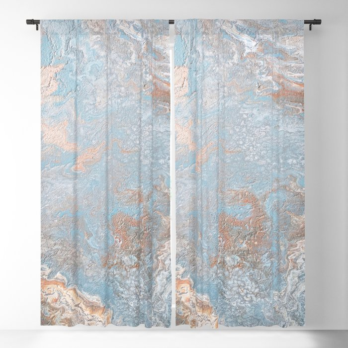Rose Gold Baby Blue Blackout Curtain By Melaniab