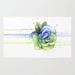 Flower Rose Watercolor Painting 12th Man Art Rug