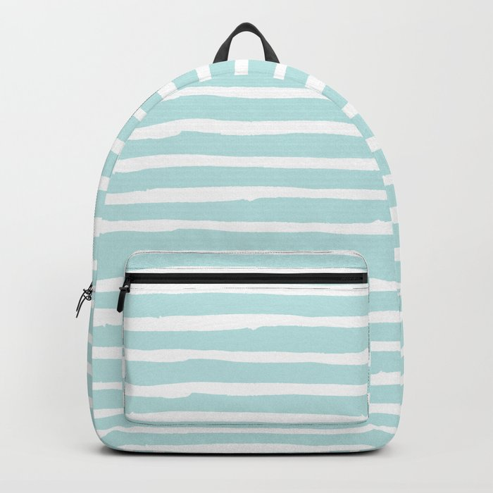 Elegant Stripes Succulent Blue and White Backpack