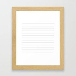 White and Grey Horizontal Stripes Framed Art Print