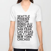 cities V-neck T-shirts featuring USA CITIES by Party in the Mountains