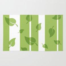 Scattered Green Leaves Rug