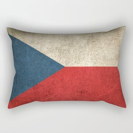 Old and Worn Distressed Vintage Flag of Czech Republic Rectangular Pillow