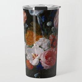 Nicolaes van Veerendael - A Bouquet of Flowers in a Crystal Vase (1662) Travel Mug