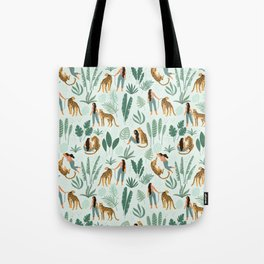Woman with Leopard on Mint Tote Bag