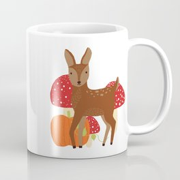Brown Deer and Blue Butterfly Autumn Design Coffee Mug