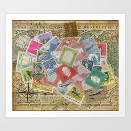 World Stamps Art Print