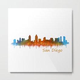 San Diego California City Skyline Watercolor v02 Metal Print