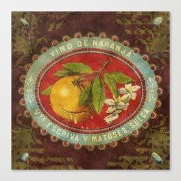 Orange Wine Label Canvas Print
