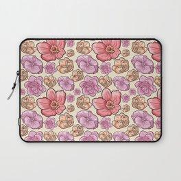 Modern botanical blush pink coral pastel yellow floral illustration Laptop Sleeve