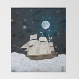 the pirate ghost ship Throw Blanket
