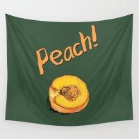 peach Wall Tapestries featuring Peach by Ken Coleman