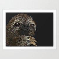 sloth Art Prints featuring SLOTH  by JosephMills