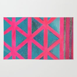 Turquoise on Hot Pink Rug