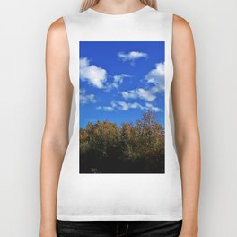 Treetops and Puffy Clouds Biker Tank