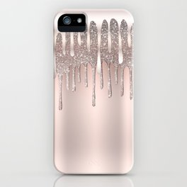 Icy Pink Rose Gold Diamond Dust Glitter Drips iPhone Case
