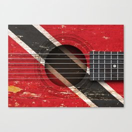 Old Vintage Acoustic Guitar with Trinidadian Flag Canvas Print