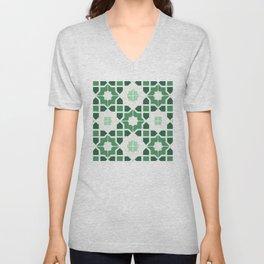 Morrocan tiles in green Unisex V-Neck