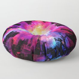 Abstract City Nebula Night Floor Pillow