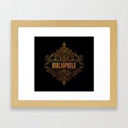 Gold Bibliophile on Black Framed Art Print