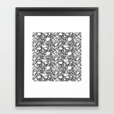 Lila's Flowers Repeat Black and White Framed Art Print