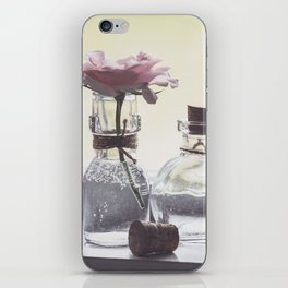 Pink Rose in Tiny Bottle iPhone Skin