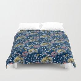 Blue, flower pattern Duvet Cover